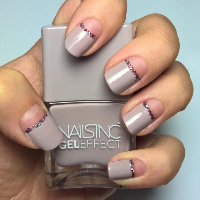 half 31DC2016 day18 halfmoon nailpolishblogger bblogger glitter nude nailsinc geleffect