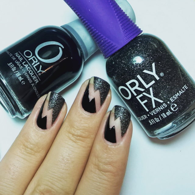31DC2016 day16 geometric orly flash glitter black bblogger nailpolishblogger
